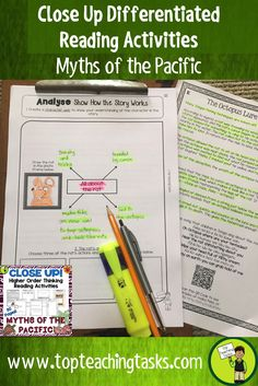 This Myths of the Pacific differentiated reading comprehension resource includes SEVEN Year Five and Year Six fiction literature passages with six engaging text dependent higher order thinking tasks - perfect for close reading in your classroom! These print and go worksheets link directly to the New Zealand Curriculum, Level Three. Featuring myths and legends from Samoa, Cook Islands, Tonga, Tuvalu, Fiji, Niue and Tokelau!