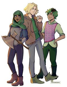 Alex Samirah and Magnus fav   if you want to be a main character you've got to have something green on you