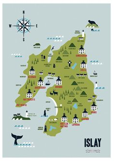 Printed Map of The Isle of Islay featuring Whisky by finchandrobin