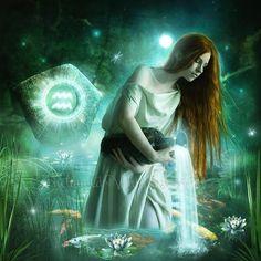Aquarius artwork Zodiac artwork/ Enchanted by EnchantedWhispersArt Astrology Aquarius, Aquarius And Libra, Astrology Signs, Zodiac Signs, Tarot, Gothic Fantasy Art, Fantasy Dragon, Bulletins, Art Birthday
