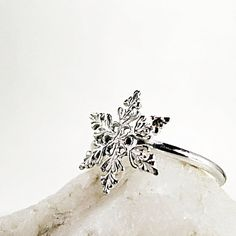 Snowflake ring Sterling Silver Winter by BarronDesignStudio This is just $25. on Etsy.com     ( Xmas ?)