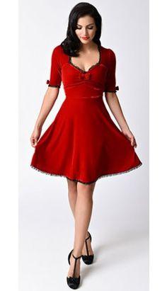 Red Velvet Bow Half Sleeve Vivienne Flare Dress