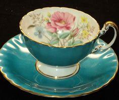Aynsley AQUA BLUE FLORAL OBAN GOLD Tea cup and saucer