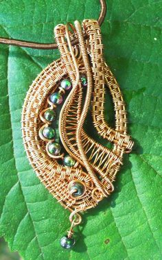 Wire wrapped beaded copper pendant by 2wired on Etsy, $55.00