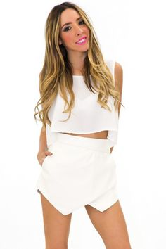 BEACON VEGAN LEATHER SKORT - White | Shop this at www.hauteandrebellious.com
