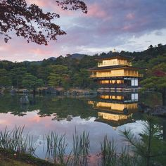 The 'Golden Pavilion' at sunset.  Not shown: the throng of like-minded picture takers clamoring for the same shot #kinkakuji #worldheritage by williamhoki