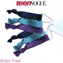 Twistband Metallic HairTies $16.00. Enter to win a Teen Vogue Birchbox! http://birch.ly/GRSGKL