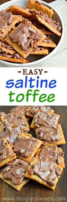 Easy Saltine Toffee ~ super easy toffee recipe made with crackers.crispy, buttery and delicious! Candy Recipes, Sweet Recipes, Cookie Recipes, Dessert Recipes, Top Recipes, Just Desserts, Delicious Desserts, Yummy Food, Delicious Cupcakes
