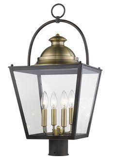 Savannah outdoor post lantern in an oil-rubbed bronze finish with aged brass accents Lantern Post, Back Plate, Bronze Finish, Oil Rubbed Bronze, Outdoor Lighting, Savannah, Lanterns, Bulb, Chandelier