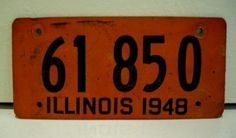 1948 Illinois License Plate - FREE USA SHIPPING.  Fiberboard license plate, tag # 61 850.
