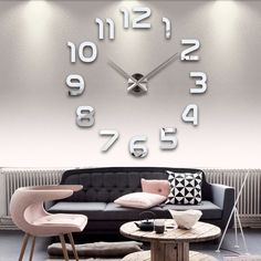 3D DIY Acrylic Mirror Wall Clock Home Decoration – marketplacefinds