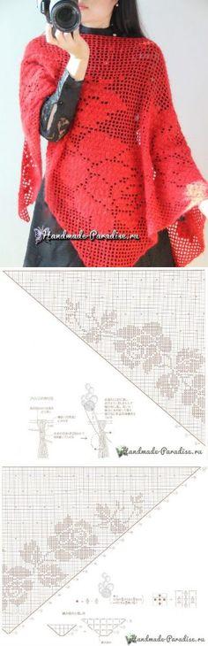Scialle rosso filet: modello e schema