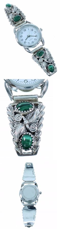 Watches 98502: Navajo Sterling Silver Green Malachite Womens Stretch Band Watch Bracelet S6-7 -> BUY IT NOW ONLY: $209 on eBay!