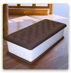 """Ice Cream Bench by Jellio, $950.00. 20""""W x 48""""L x 18""""H, made of canvas-covered foam."""