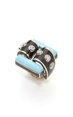 David Webb ~ Turquoise and Black Enamel Ring