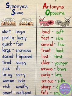 Synonyms / Antonyms Anchor Chart