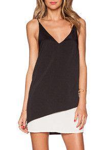 Black White Slipdresses Slip Spaghetti Strap Color Block Dress