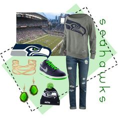 Because of my recent obsession with seattle, and the fact that I care nothing about football teams, I think I'll try and care about the superbowl and look cute doing it this year. Seattle Seahawks, Seahawks Gear, Seahawks Fans, Seahawks Football, Best Football Team, Football Season, Broncos, 12th Man, Cute Outfits