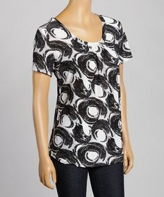 Look what I found on #zulily! Black & White Abstract Circle Scoop Neck Tee #zulilyfinds