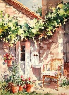 By Christian Graniou Watercolor Landscape, Watercolour Painting, Painting & Drawing, Watercolours, Watercolor Artists, Watercolor Techniques, Love Art, Painting Inspiration, Art Drawings