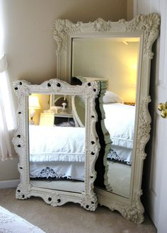 Vintage mirrors- this would be so perfect for my fiancés and mine place. He loves big mirrors and I love anything vintage. love love & love