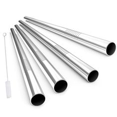 Stainless Steel Drinking Straws, Alink Extra Wide Long Reusable Fat Boba Metal Smoothie Straws Jumbo, 12 mm X 9 in Set of 4 with Cleaning Brush -- Continue to the product at the image link.