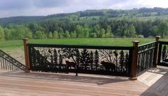 Product Photo Gallery | CS-575 Swallow and bear in the forest CS-576 Pine Border spindle railing by NatureRails