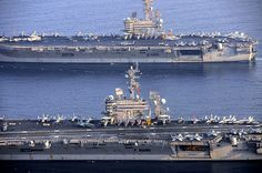 The San Diego-based aircraft carrier USS Carl Vinson relieved the USS George Bush in the Arabian Gulf and began air operations Saturday in Iraq and Syria. What Makes America Great, Navy Carriers, Go Navy, Us Navy Ships, Arabian Sea, United States Navy, Submarines, Aircraft Carrier, War Machine