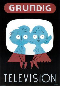 Grundig TV poster, 1950's.