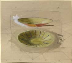Perspective Study of two shallow Dishes John Ruskin, spring 1871