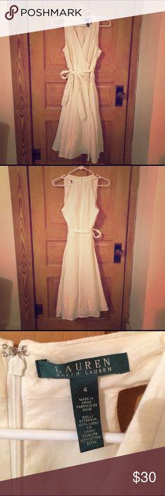 White/cream Ralph Lauren Dress White/cream, tea length, V-neck Ralph Laurn dress Lauren Ralph Lauren Dresses Midi