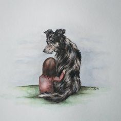 A border collie and his girl. Jive the protective, loving, and watchful bc was the second fb winner from my drawing.   There is no sweeter friendship than a child and their dog.   #bc #bordercollie #bestfriend #dog #dogs #dogportrait #dogpainting #watercolorart #watercolor #watercolorpainting #friendship #art #madison #madisonwi #instaart #instaartist #astuaryart