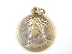 Vintage French Sacred Heart of Jesus Catholic Medal - Religious Charm - Montmartre Basilica of the Sacré Cœur by LuxMeaChristus