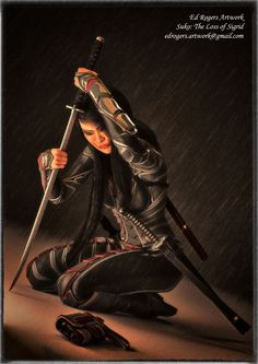 Suko, the lover of Sigrid, despairs at her loss, the only memories and Sigrid's gun remain, as she mourns in the darkness and rain (based from the Girls from Alcyone book series by Cary Caffrey) Fantasy Books, Sci Fi Fantasy, Old Images, Art Base, Katana, Darkness, Old Things, Rain, Fan Art