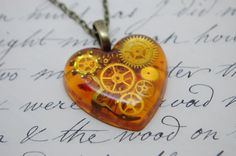 Faux Amber Steampunk Heart Pendant / Necklace Watch Parts, Cogs and Gears in Resin,  Bronze Chain