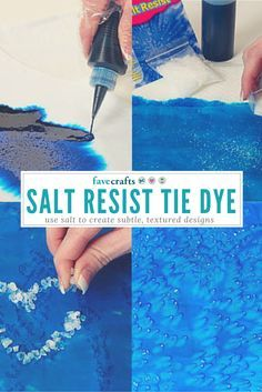 Use salt to create subtle, textured designs in tie-dye with this salt resist tie-dye technique. Find instructions with photos and a sample tie-dye result. Kids Tie Dye, How To Tie Dye, How To Dye Fabric, Dyeing Fabric, Fabric Dyeing Techniques, Tie Dye Techniques, Painting Techniques, Tye Dye, Inchies