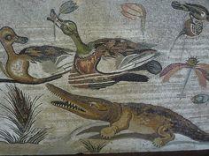 Roman Mosaic. Crocodile. Pompeii, Italy.