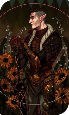 and worked on a card of Tal for my birthday :,D! Dragon Age Characters, Fantasy Characters, Dragon Age Elf, Dragon Age Dorian, Dragon Age Inquisitor, Dragon Age Tarot Cards, Character Art, Character Design, Human Art