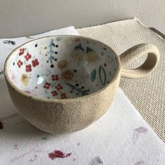 "Bethany Scott on Instagram: ""Mugshot Monday ☕️🍩 #clay #ceramics #pottery #tableware #dinnerware #handmade #canadianmade #canadianceramics #floralmug #mugshotmonday…"""