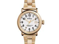 """Shinola """"The Runwell"""" 36MM Yellow Gold Women's Watch"""