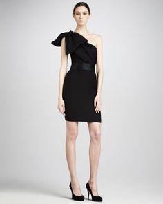 Women's Notte by Marchesa Shoulder-Bow Cocktail Dress