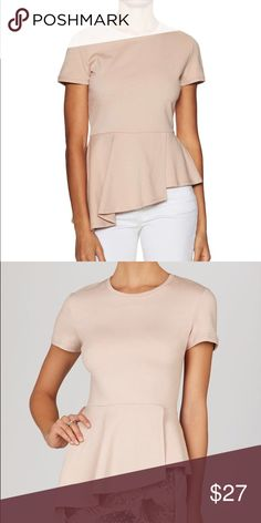 BCBG asymmetrical bare pink peplum top Sweet and sexy BCBG asymmetrical bare pink peplum top. Can be paired with jeans or a fitted skirt. Perfect day into evening look. Adorable zipper closure in back. Great condition BCBG Tops Blouses