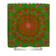 """Shower curtain with colorful green and red vortex fractal. Shower curtains are made from 100% polyester fabric and include 12 holes at the top of curtain for simple hanging from your own rings. Shower curtains are 71"""" wide by 74"""" tall....."""