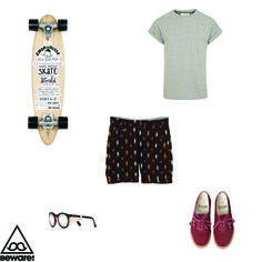 #Fashion Selection n°36 : River Island tshirt, French Trotters shorts, Vans shoes, Sunpocket glasses, Isabel Marant by Heritage Paris longboard : http://bewaremag.com/2013/07/07/selection-mode36/