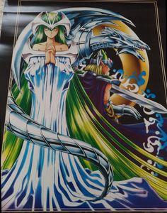 "Toei and Bandai Yugioh Poster. Blue Eyes White Dragon & Celtic Guardian & Mystical Elf """