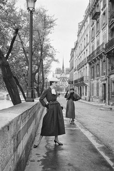 """this is one of the Christian Dior (1905 - 1957 French designer) """"New look"""" design in 1950s.  I thought he was female designer at first lol. Picture taken from Life mangazine in 1953, from his Autumn-Winter collection"""