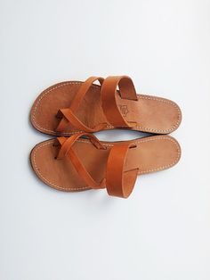 Brown Natural Leather Handmade in greece