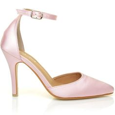 ShuWish UK New York Baby Pink Satin Ankle Strap Pointed High Heel Bridal Court Shoes