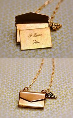 "A vintage inspired brass envelope contains a note that states, ""I love you."" Still want this for my birthday!!"