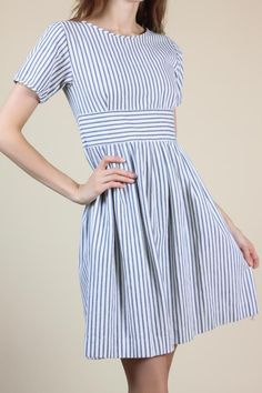 ec02f0204ff 90s Cotton Day Dress    Vintage Button Up Blue White Striped Knee Length  Dress - XS